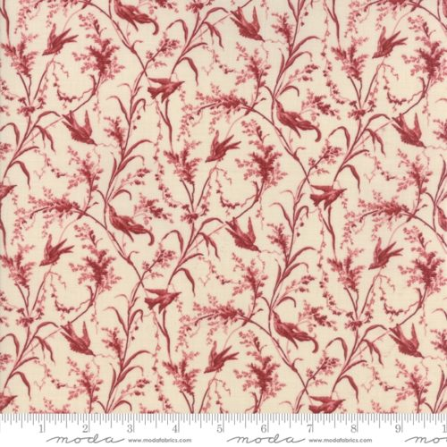 Rouge 13815 12, Jardin de Versailles,Moda. Klassieke French General stof: roze takjes met blad op zacht creme achtergrond. Quiltstof, 100% katoen, 1.10m breed.