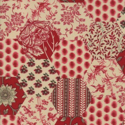 Rouge 13820 16 La Vie En Rouge Moda. Aparte French General stof, hexagons met rode-beige motieven.Quiltstof, 100% katoen, 1.10m breed.