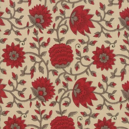 Pearl La Vie En Rouge 13822 16 Moda. Klassieke stof van French General: rode bloemen op licht-beige achtergrond.Quiltstof, 100% katoen, 1.10m breed.