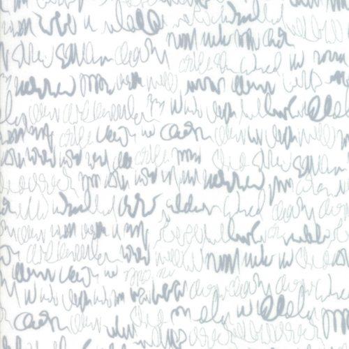 ore Paper White 1676 11 Grijs-witte achtergrond stof met letters/schrift uit de Moda-collectie Modern Background, ontworpen door Zen Chic. Quiltstof, 100% katoen