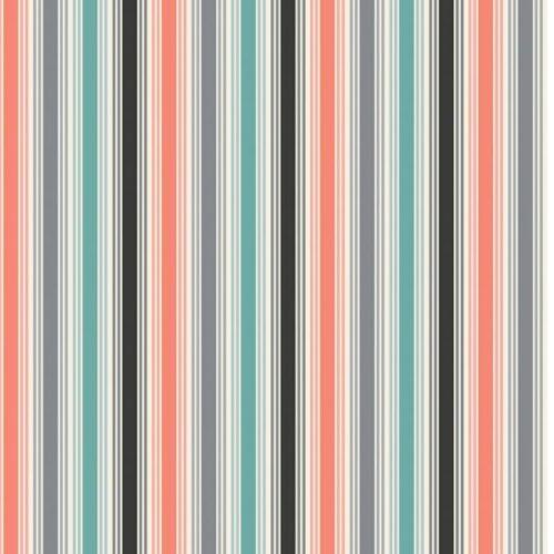 Papillon stripe lighter version 1765/S Makower.Een moderne collectie van atelier 3 Sisters. Rode, grijze, zwarte en blauw-groene strepen. Quiltstof, 100% katoen, 1.10m breed.