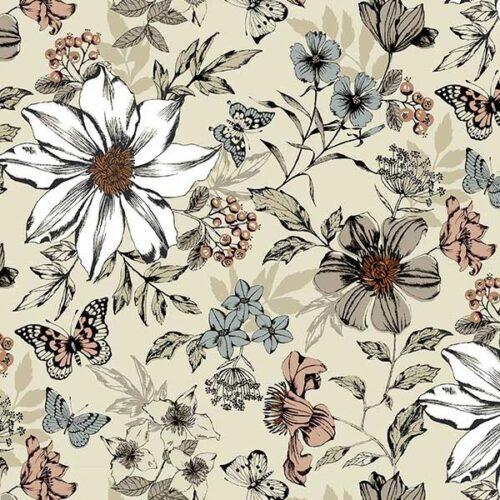 Dream 1862-Q exotic floral cream. Makower. Grote witte bloemen in een crème tuin.Quiltstof, 100% katoen, 1.10m breed.