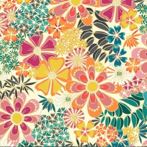 Floral Ivory Makower quiltstof met bont bloemen-motief. Quiltstof, 100% katoen