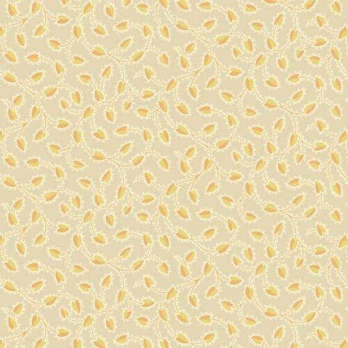 Trinkets 2/8144N Makower.Klassieke creme-gele stof met kleine motiefje er in.Quiltstof, 100% katoen, 1.10m breed of als fat quarter.