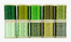 Wonderfil garens, groen.Assortiment van 10 klossen garens in diverse tinten groen voor patchen, quilten en borduren. Rayon, 40 wt, 150 m.