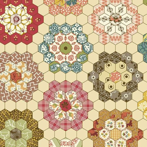 Maling Road 8717R Maling Cheater, Maker. Ontwerp: Di Ford-Hall. Modern achthoekig bloemenpatroon.Quiltstof, 100% katoen, 1.10m breed.