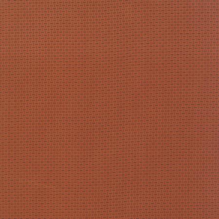 Miniature Gatherings Tangerine 1156 16. Ontwerp van Primitive Gatherings voor Moda. Bijna effen oranje-rode stof met klassieke uitstraling.Quiltstof, 100% katoen, 1.10m breed.
