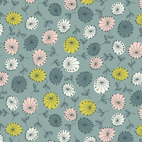 Flowers Blue van Andover. Een collectie die een beetje vintage is. Blauw-groene, roze en gele bloemen.Quiltstof, 100% katoen,