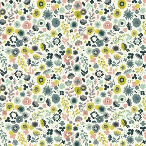 Ditzy Flower 1844Q van Andover. Een collectie die een beetje vintage is. Blauw-groene en gele bloemetjes.Quiltstof, 100% katoen, 1.10m breed.