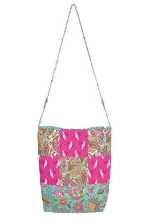 Gratis patroon, een ontwerp van Janet Goddard (www.patchworkpatterns.co.uk) voor een tas met stoffen uit de collectie Monsoon.