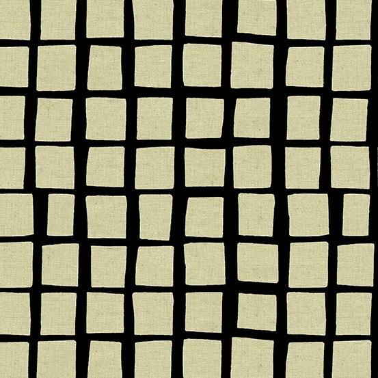 8649K Tiger Plant Andover. Cremekleurige vlakken op een zwarte achtergrond.Quiltstof, linnen/katoen, ook als fat quarter online bij quiltkompas.