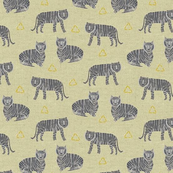 8674-MC Tigers Andover. Zwarte tijgers op een zandkleurig achtergrond.Quiltstof, Samenstelling linnen/katoen, 110 cm breed.