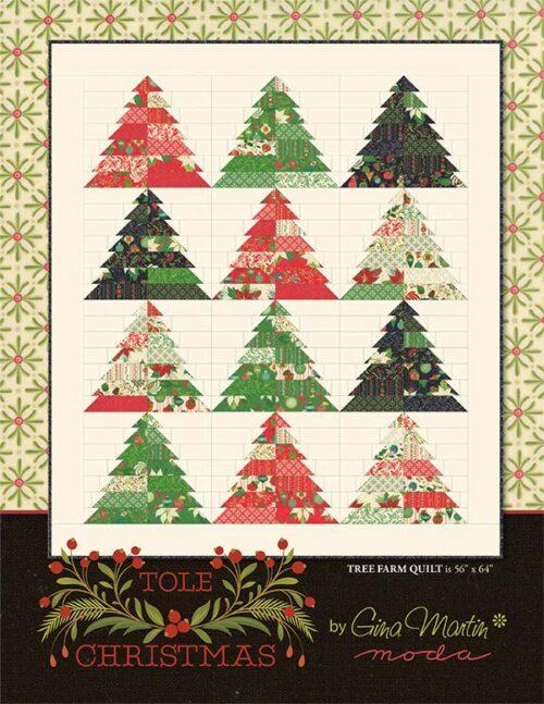 Patroon Kerstquilt Tole van Moda. Een ontwerp van Gina Martin. Deze quilt maak je natuurlijk met stevige rode en groene stoffen of met de feestdagencollectie.