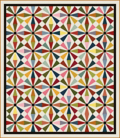 Het gratis patroon voor deze quilt 'Primitive Pinwheels' is ontworpen door Heidi Pridemore of The Whimsical Workshop.