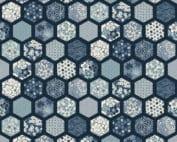 2151_B_hexagons Makower Indigo Tailored Cloth