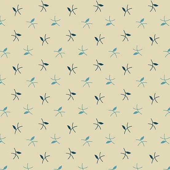 Twigs Royal Blue 2/9184BL Edyta Sitar quiltstof creme bladen