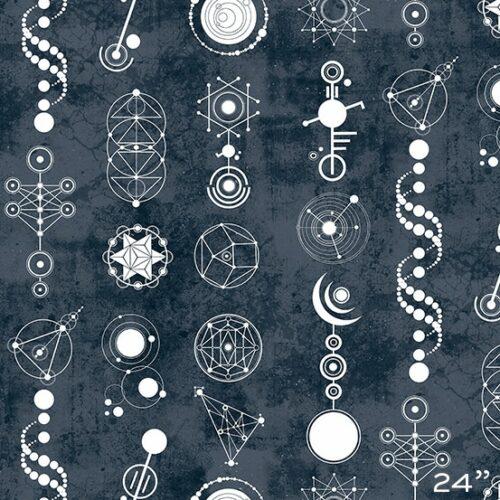 Crop Circles 9242B Declassified van ontwerper Giucy Giuce voor Andover. Quiltstof, 100% katoen, 1.10 m breed. grijs geometrisch