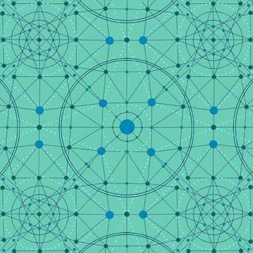Schematic 9243GL Declassified van ontwerper Giucy Giuce voor Andover. Quiltstof, 100% katoen, 1.10 m breed. groen-blauw geometrisch