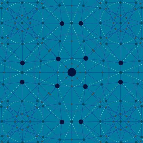 Schematic 9243T Declassified van ontwerper Giucy Giuce voor Andover. Quiltstof, 100% katoen, 1.10 m breed. blauw geometrisch