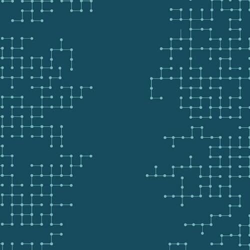 Declassified Giucy Giuce Quiltstof, blauw geometrisch