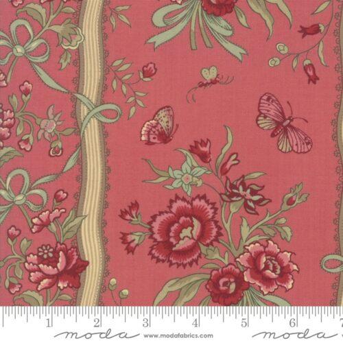 klassiek quiltstof rood roze bloemen randstof
