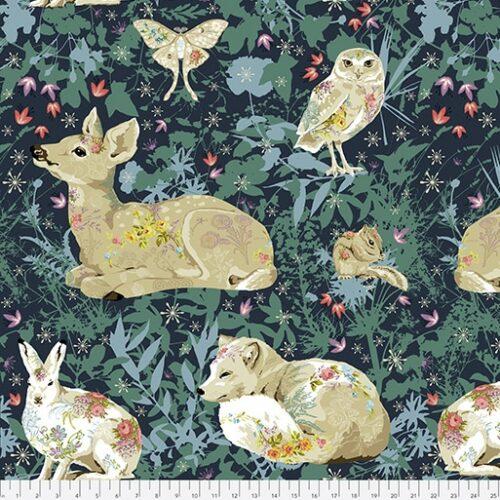 Blauw-groene quiltstof met dieren, konijn