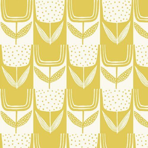 Moderne quilt stof grote bloemen groen geel