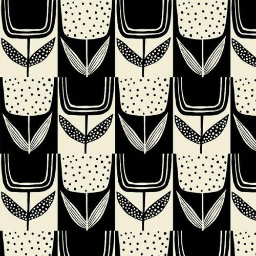 Moderne quilt stof grote bloemen zwart wit