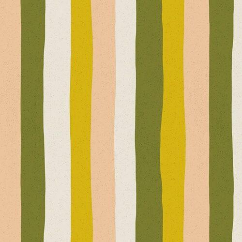 Moderne grafische quilt stof met strepen groen geel roze