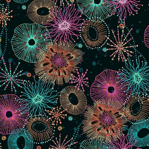 moderne quilt stof zwart, blauw cirkels