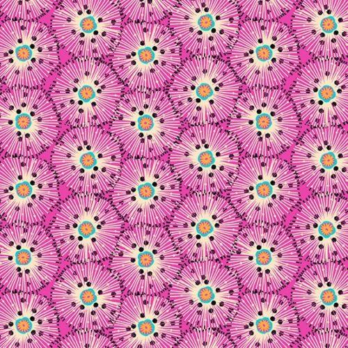 Moderne paars-roze quilt stof met cirkels