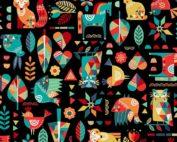 Folk Friends moderne quilt stof dieren