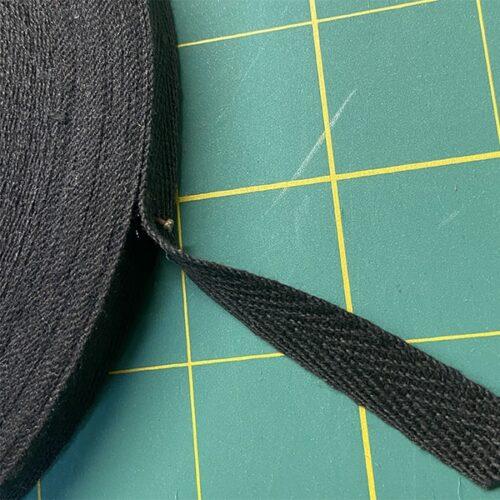Keperband zwart katoen