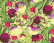 Moderne quilt stof Mixed Veggies PWMN001.BRIGHT Mixed Veg Martha Negley