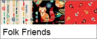 Folk friends collectie vrolijke dieren quilt stof