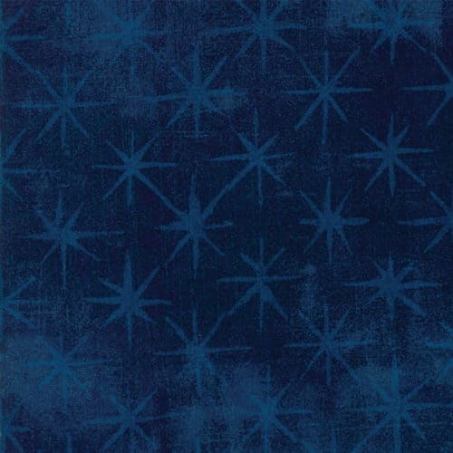 Effen blauwe quiltstof met sterren, Grunge Seeing Stars 30148-44