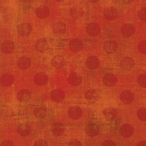 Basic Grey voor Moda Basic. Rode stippen op roestkleurige bruin-rode ondergrond.