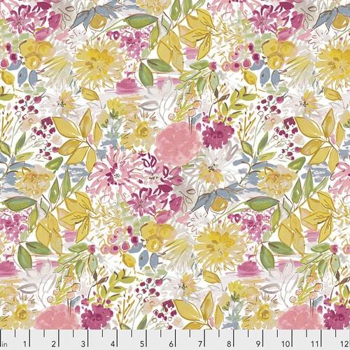 Moderne quilt stof met pastelkleurige bloemen. Ontwerp van Dena Designs - Adelaide Grove. Quiltstof, 100% katoen, 1.10m breed.