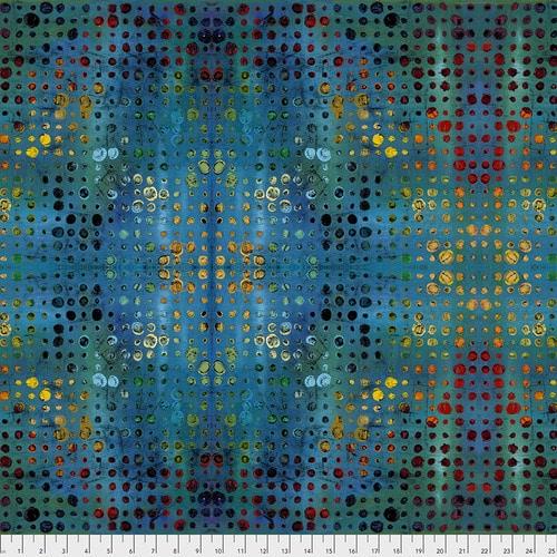Moderne quilt stof met grafisch blauw motief. Ontwerp van Sue Penn - Garden Bright. Quiltstof, 100% katoen, 1.10m breed.