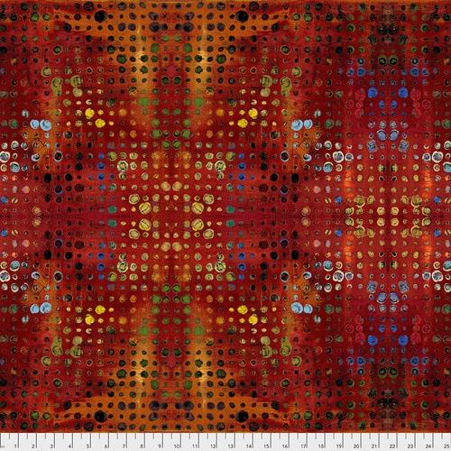 Glow Sunset . Moderne rode quilt stof met grafisch motief van geel-gouden stippen.