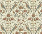 Creme bloemen, dieren, natuur motief van William Morris. Quiltstof 100% katoen reproductiestof online bij quiltkompas.