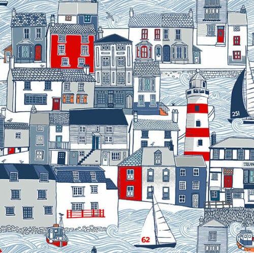 Blauw-grijze quilt stof met maritieme motieven, haven, vuurtoren, zeilschepen