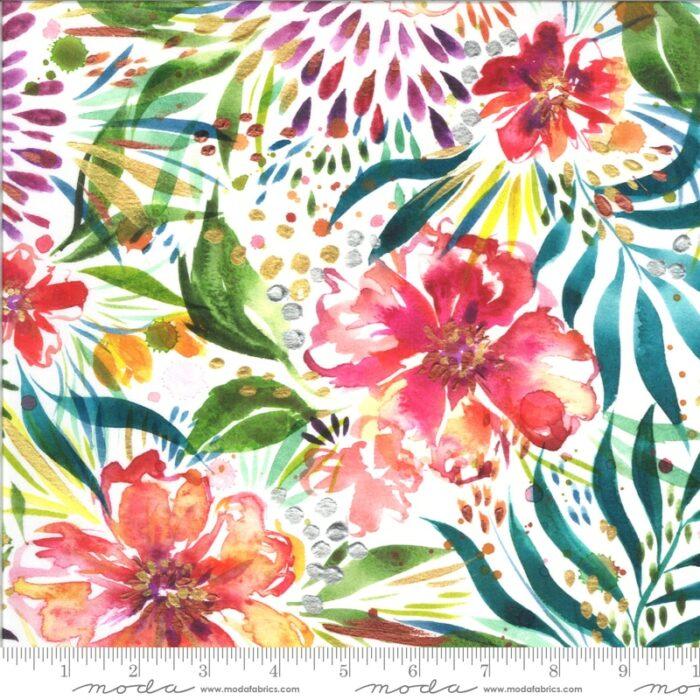 witte quiltstof modern pastel bloemen 100% katoen